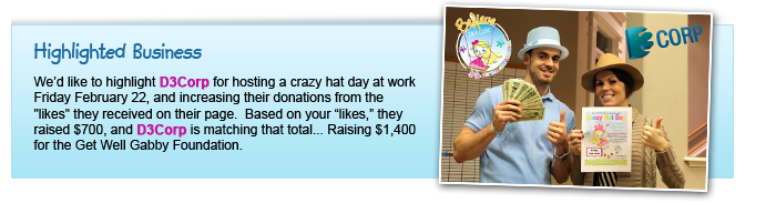 Highlighted Business: We'd like to highlight D3 Corp for hosting a crazy hat day at work Friday February 22, and increasing their donations from the likes they received on their page.  Based on your likes, they raised $700, and D3 Corp is matching that total... Raising $1,400 for the Get Well Gabby Foundation.