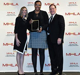 Amy Rohrer, MHLA President & CEO, Wynter Sharps, Assistant General Manager SpringHill Suites Columbia, Chuck Chandler, Dual Property General Manager, Hampton Inn and Suites Columbia/South & SpringHill Suites Columbia & MHLA Board Chair